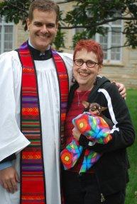 Matt Meinke and Shepherd Manor resident enjoying the Blessing of Animals